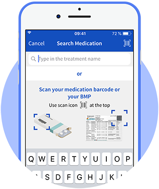 Scan medication code with integrated barcode scanner