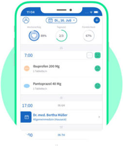 Tablettenerinnerung in Adhärenz-App mediteo